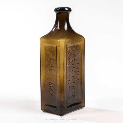 """"""" G.W. Stone's / Liquid / Cathartic & / Family Physic / Lowell Mass. """" Medicine Bottle, AAM pg. 496"""