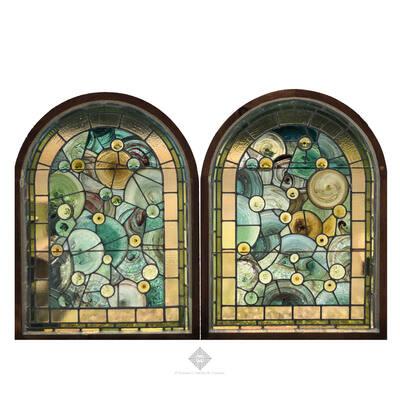 Pair of Leaded Glass Windows