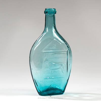 """ Flora Temple ( Horse ) "" - Reverse Plain Pictorial Flask, GXIII-23"